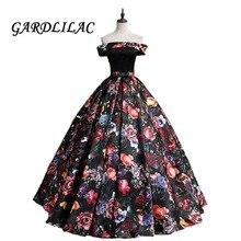 Gardlilac Off The Shoulder 3D Floral Print Ball Gown Quinceanera dresses Prom Dress Long Formal Gowns Vestido De Festa G0136