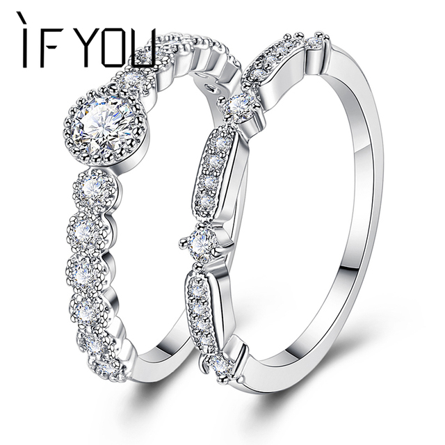 Find More Rings Information about IF YOU Fashion Silver Flower Wedding Ring For Women Elegant Anillo Cubic Zirconia Finger Ring Set Lover Female Party Jewelry