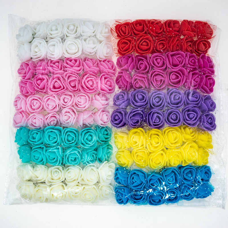 120pcs/lot Mix Color Foam Roses Artificial Flowers Fake Rose 2cm Small Flowers For Craft Home Decor Flowers For DIY Bouquet