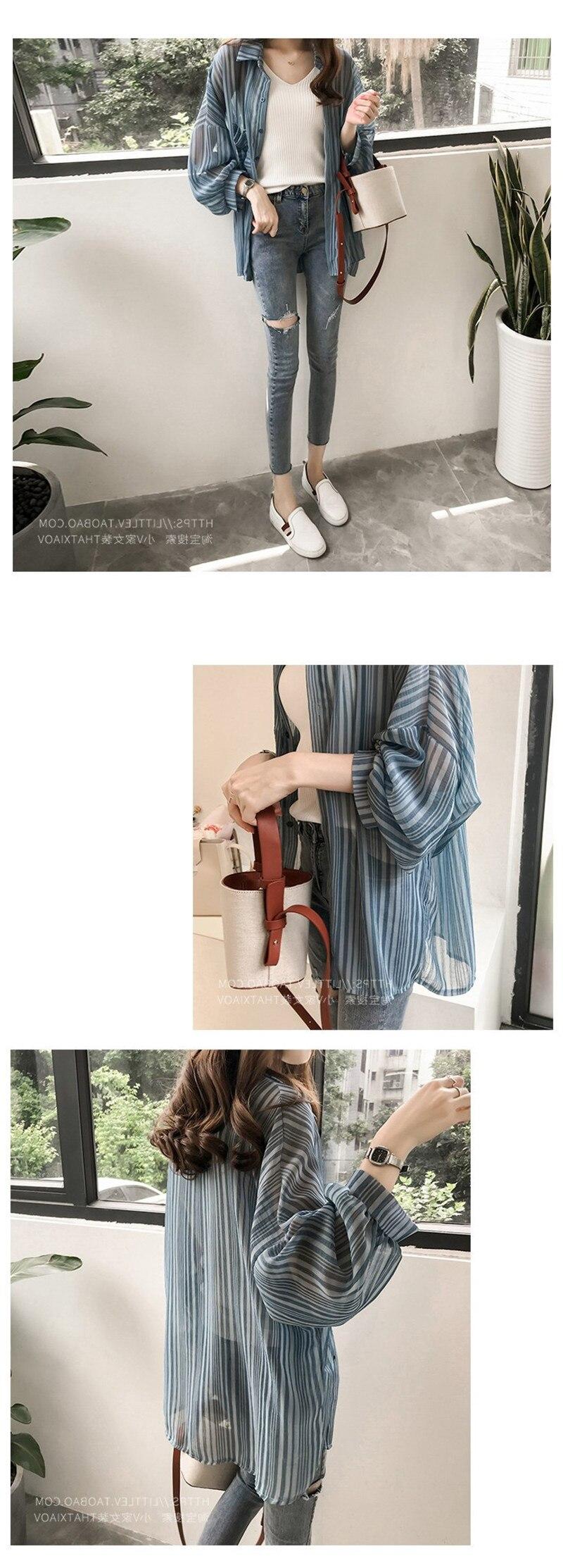 Summer Tops For Women 2019 Loose Lantern Sleeves Striped Shirt Female Chiffon Cardigan Wild Sun Protection Clothings (2)