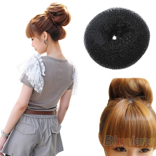 Hair Donut Bun Ring Shaper Roller Styler Maker Brown Black Blonde Hairdressing S M Elast ...