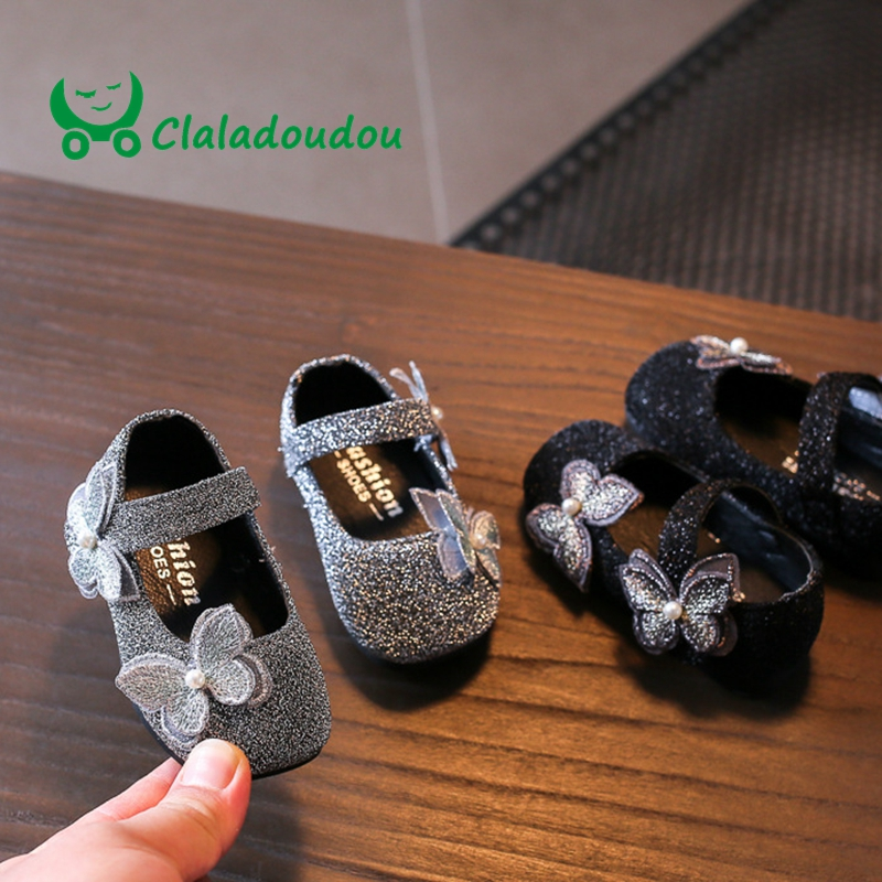 Claladoudou 11.5-13.5 Fashion Girls Shoes Toddler Moccasins First Walker Shoes PU Leather Cute Silver Bling Baby Girls Shoes