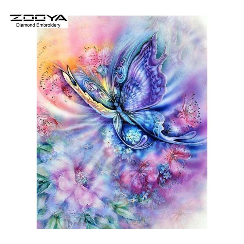 Zooya Diamant Broderie Diamant Peinture Reve Violet Papillon Peinture Diamant Peinture Point De Croix Strass Mosaique Bj1548 Aliexpress