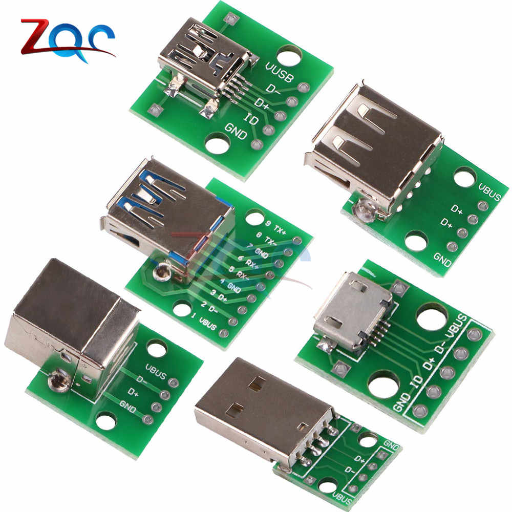 10 PC Mikro Mini USB USB Male USB 2.0 3.0 Female USB B Konektor Antarmuka untuk 2.54 Mm DIP PCB Konverter Adaptor BREAKOUT BOARD