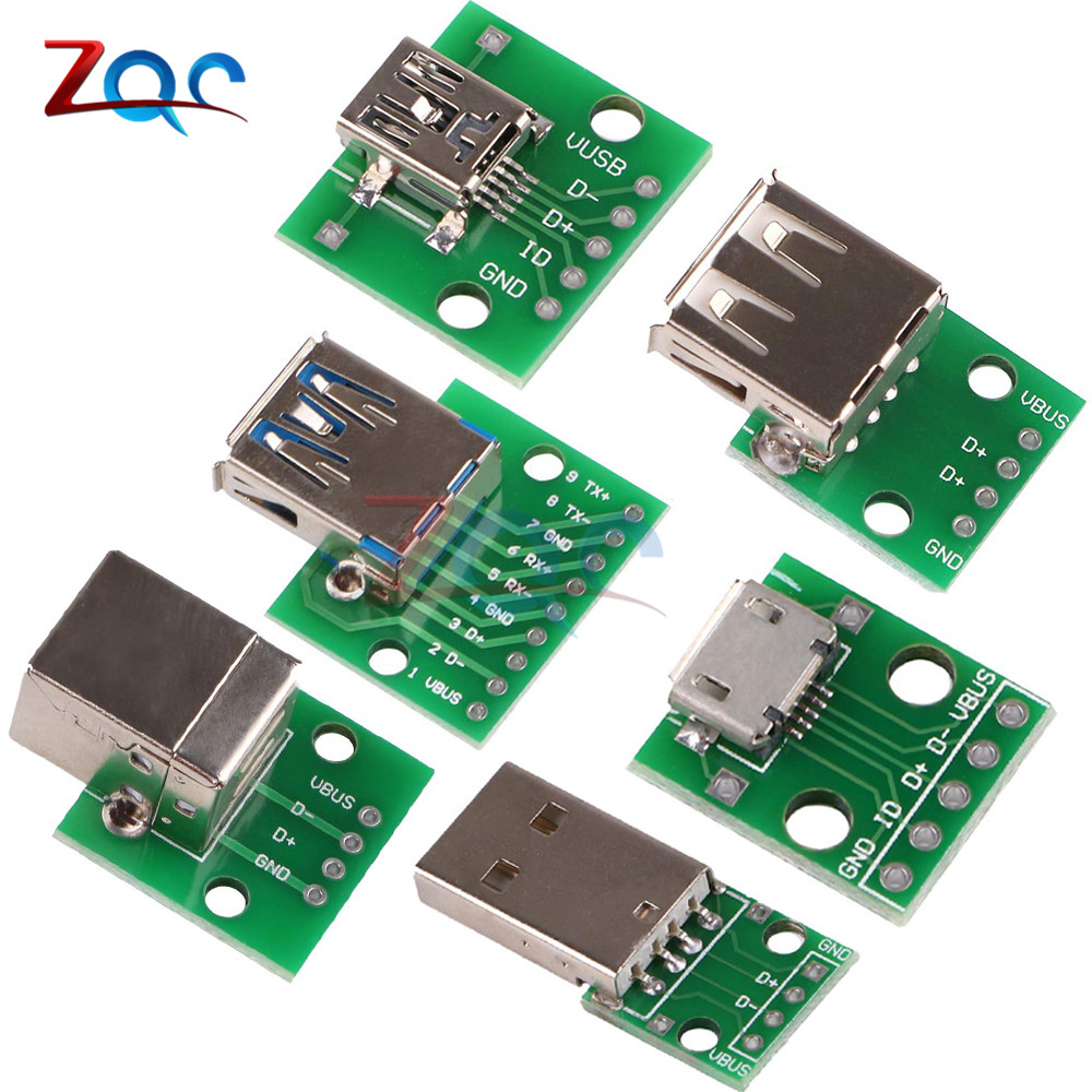 10pc Micro Mini USB USB A Male USB 2.0 3.0 A Female USB B Connector Interface To 2.54mm DIP PCB Converter Adapter Breakout Board