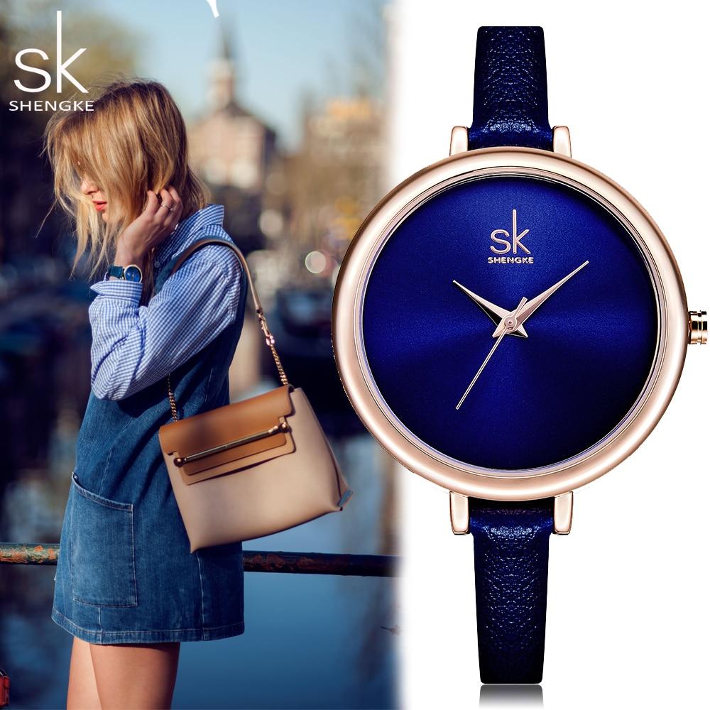 Shengke SK Fashion Quatrz Women Watches Elegant Slim Top Leather Brand Clock Blue Ladies Dress Wristwatch Relogio Feminino Gift