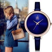 Shengke SK Fashion Quatrz Women Watches Elegant Slim Top Leather Brand Clock Blue Ladies Dress Wristwatch