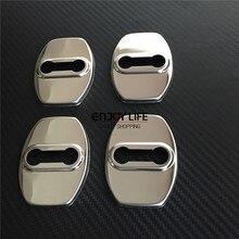 4pcs Door Lock Buckle Striker Protective Cover Caps Case Sticker For Toyota Land Cruiser Prado FJ120 2002-2009 FJ150 2010 – 2015