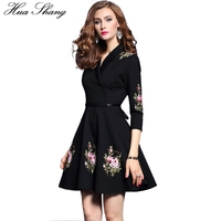 4xl Plus Size Women Winter Dress V Neck Three Quarter Sleeve Emboridery Dress Slim High Waist