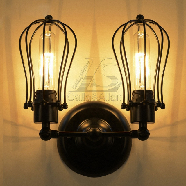 Vintage loft wall lamp e27 lamp holder lighting fixture industrial retro two heads cage lampshade indoor