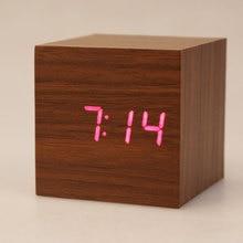 Mini Wooden Clock LED Digital Desktop Alarm Clock