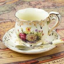 Tazas de cerámica de estilo europeo 3 sets de disco taza de café de china de hueso creativo Inglés tarde tazas de té 200 ML