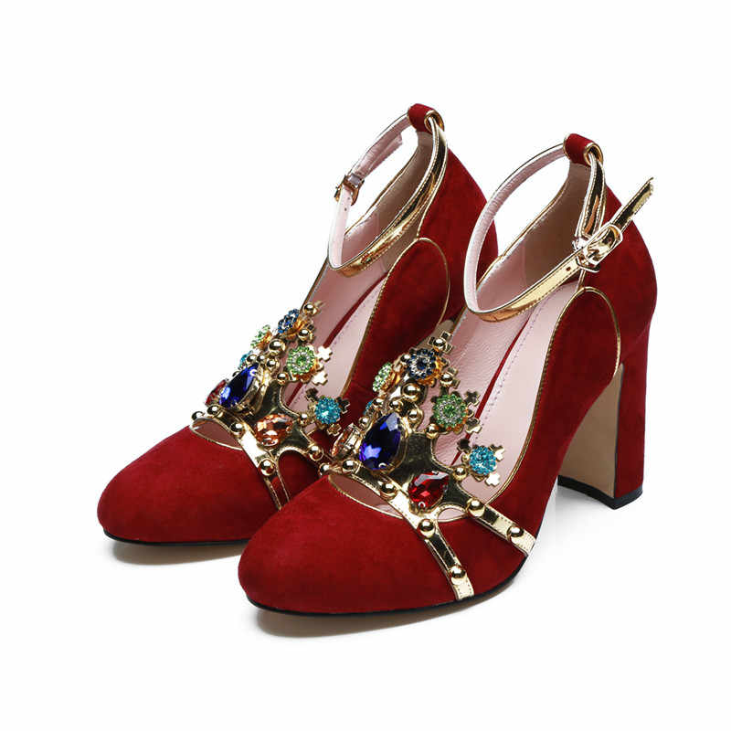 52a83f31e4 2019 Luxury Brand New Designer Shoes Luxury Colored Rhinestone Crown Mary  Jane Shoes Block Heel Woman Party Wedding Shoes Pump