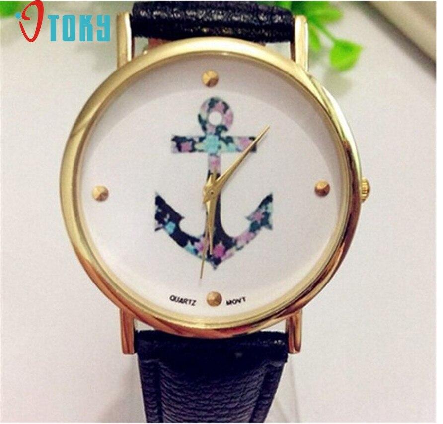 Hot Único OTOKY Pattem Relógio Âncora Do Vintage das Senhoras das Mulheres Relógio de Quartzo de Couro Preto Drop Shipping-F26