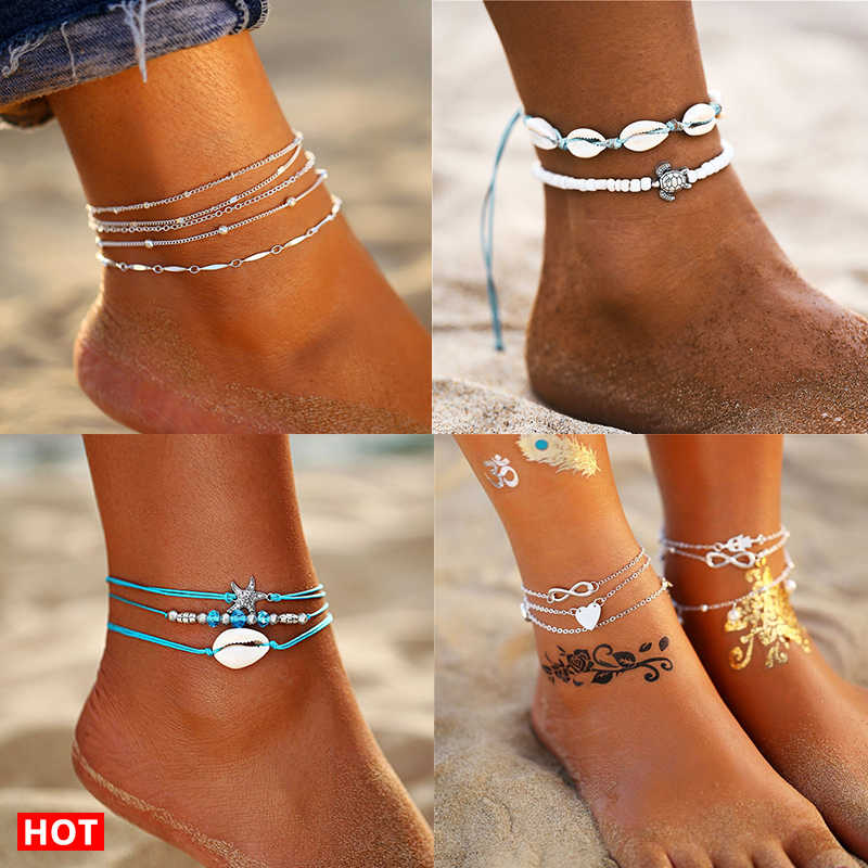 17KM 11 Vintage Anklets Set For Women Shell Moon Star Sun Leg Chain Gold Silver Multilayer Anklet Bracelets 2019 BOHO Jewelry
