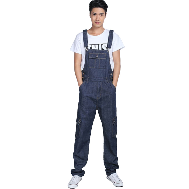 Men's fashion pocket denim overalls for boys Male casual loose jumpsuits Plus large size jeans Bib pants Free shipping 2016 new men s casual pocket blue denim overalls slim jumpsuits pants ripped jeans for man plus size 28 34
