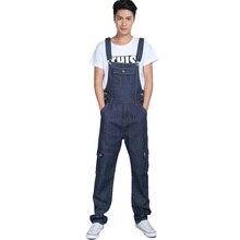 Мужская мода карманные джинсовые комбинезоны для мальчиков Мужской случайные свободные комбинезоны Плюс большой размер джинсы Биб брюки Бесплатная доставка