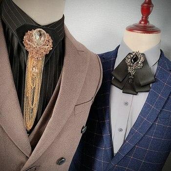 Men Neck Collar Shirt Bow Tie Alloy Rhinestone Crystal Wedding Banquet Party Necktie Cravat Luxury Tassels Chain Ribbon Bowtie