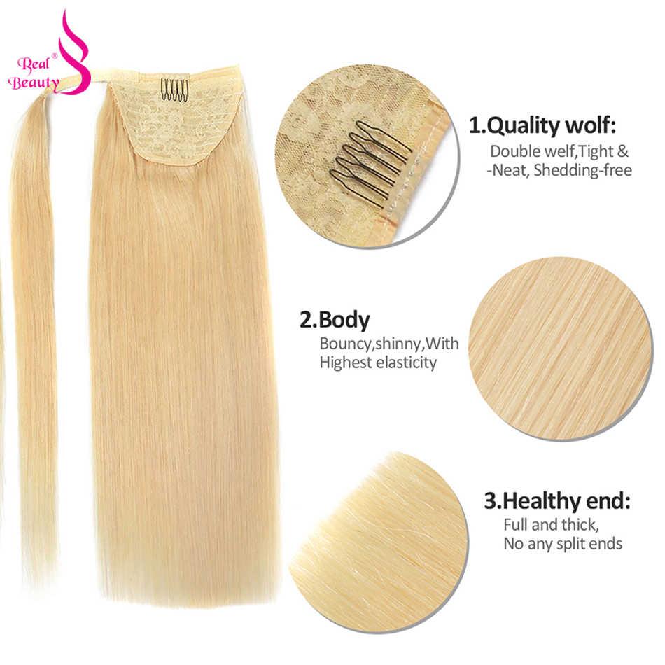 ECHT SCHÖNHEIT Gerade Menschliches Haar Pferdeschwanz Wrap Um Europäische Remy Clip in Pferdeschwanz-haar Extensions für Frauen Bleach Blonde