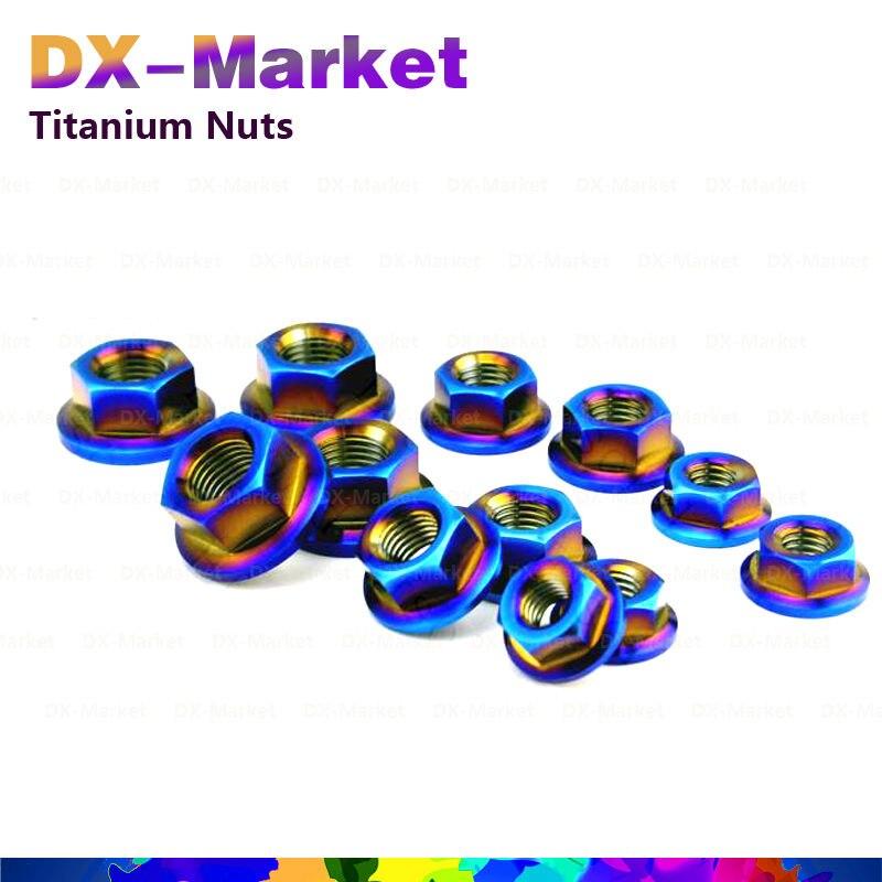 m18 , 2pcs /set , AB color , m18 Titanium Hexagon flange nuts  , Motorcycle Tuning Parts , m18 Upgrade material kit ni8 m18 rn6x rp6x rd4x rz3x