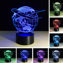 3D Creative Fashion Lamp Visual Earth Plan Aircraft Globe Earth Light Effect 7 Colors Changes Child