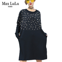 Max LuLu 2018 Spring Fashion Korean Styles Girls Pearls Clothing Womens 3d Diamonds Dot Dresses Loose Woman Casual Dress Vintage