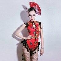 Cosplay Costumes DJ Woman Singer Retro Cheongsam Cos Dress Bar DS Geisha Performance Sexy Dance Nightclub Gogo Costume,SC27