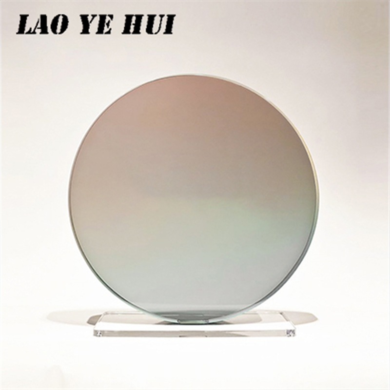 LAO YE HUI Anti Blue Light 1.56 Discolored Gray Lenses Aspherical Myopia Lens Prescription Custom Made Diopter Glasses Lens
