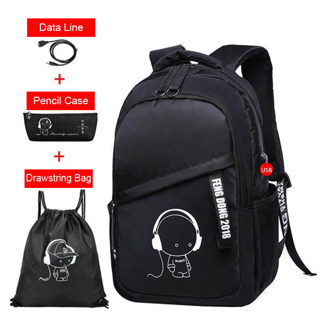 Water Resistant Children School Bags for Boys Girls High School Backpack for Teenagers Kids Cartoon Schoolbag Set Bookbags