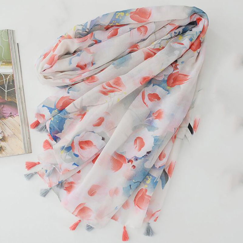Blooming Flower Printing Thin Section Cotton And Linen Scarf Tassel Shawl Scarf Hijab Wrap Headband Ladies Muslim Scarf
