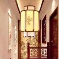 Китайская Шелкография цветок и птица деревянная художественная люстра классический желтый оттенок оправа кофейного цвета E27 светодиодные ...