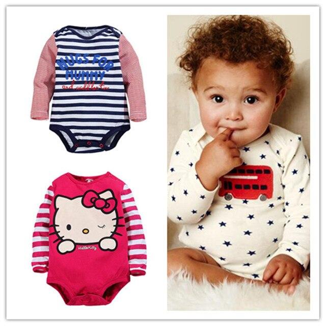 2016 New Bodysuits For Baby Girls Long Sleeve Body Infant Bebe Boys Flowers Hello Kitty Spring Fall Brand Clothing