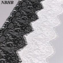 NBHB Горячая 15 см широкая вуаль вышитые белые черные блестящие ресницы ткань кружева 3,3 ярдов швейная аппликация Свадебная вечеринка украшения