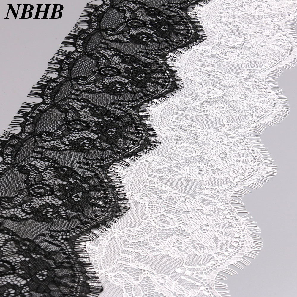 NBHB Hot 15cm Wide Voile Embroidered White Black Shiny Eyelash Fabric Lace 3.3yards Sewing Applique Wedding Party Decoration