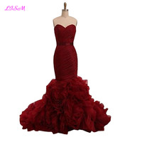LISM Sweetheart Sheath Ruched Tiered Empire Sash Organza Long Bridesmaid Dress Zipper Up Sleeveless Prom Party Dresses