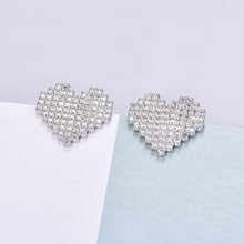 Love Girl Earrings Heart-shaped Inlaid Zircon Silver Earrings Female Korean Rhinestone Sweet Ear Jewelry Valentine's Day Gift(China)