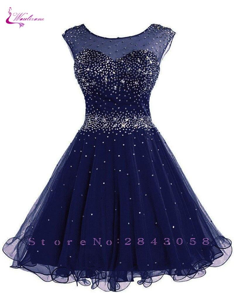 Waulizane Charming Crepe Sweetheart Short A-Line Prom Dress Off The Shoulder Beaded Crystal Sleeveless Knee-Length Formal Dress