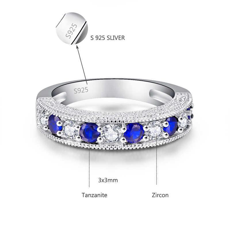 JQUEEN รอบ Blue Tanzanite Zircon แหวนผู้หญิงแหวนเงิน 925 เครื่องประดับ Pave การตั้งค่าคริสตัลเครื่องประดับ Bijoux Femme