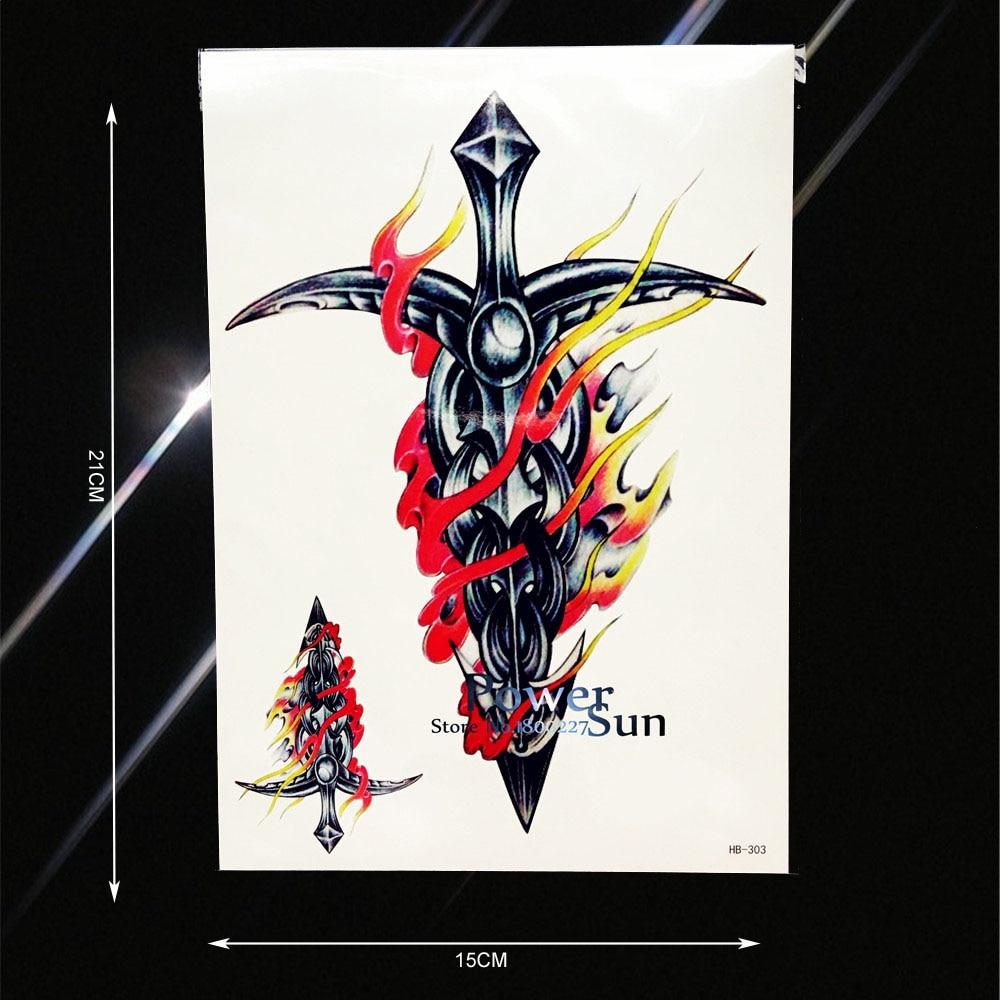 e759e2381 1PC Large Body Chest Art Fake Tattoo Sleeve For Men Women Tatoo Fire Metal  Sword Design Flash Temporary Tattoo Stickers PHB303