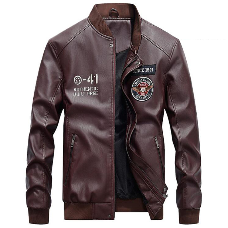 Hommes mode broderie 4XL moto vestes PU cuir veste hommes nouvelle marque printemps automne col montant Baseball en cuir manteau
