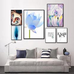 Абстрактный цветок картина скандинавский акварельный стены художественные работы модные цитаты плакаты и печать высокого разширения на