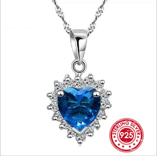 925 Sterling Silver Sapphire Pendant