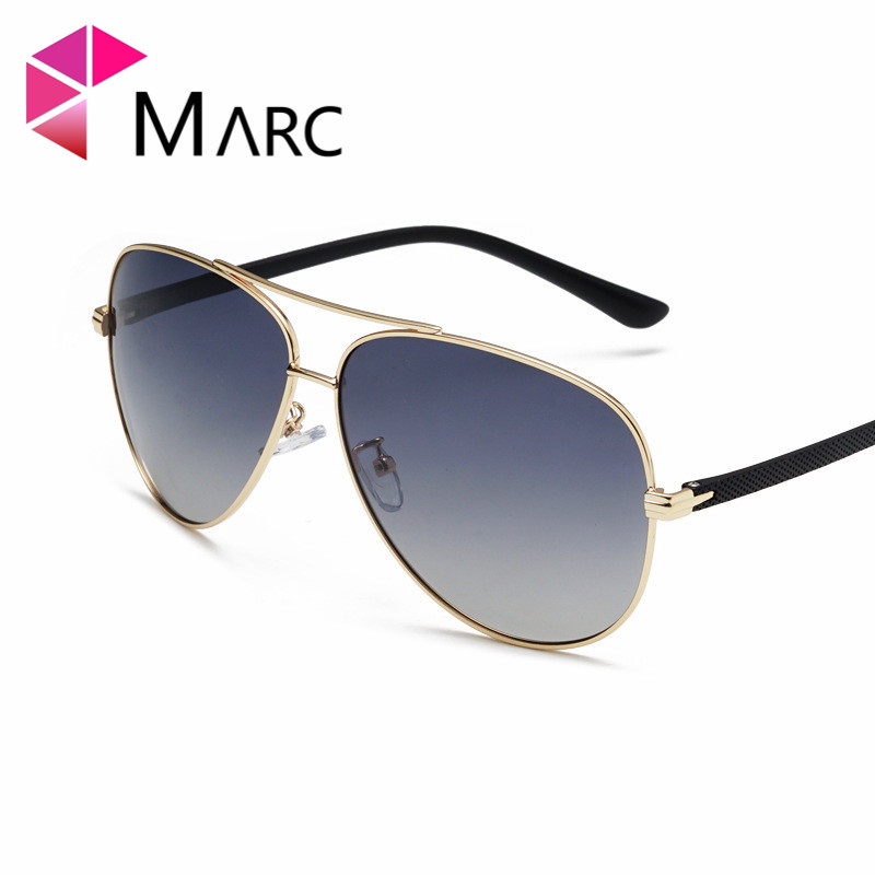 MARC 2019 Men Glasses Pilot Sunglass Retro Blue Lens Eyewear UV400 Sunglasses Metal Trend Male Polarized Mirror 1 in Men 39 s Sunglasses from Apparel Accessories