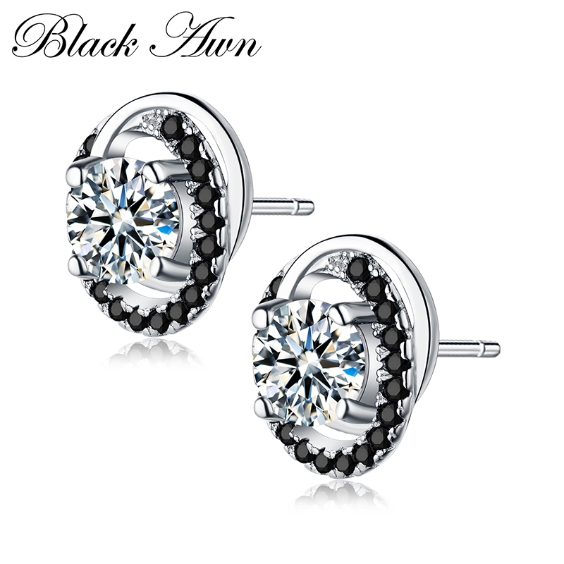 Black Awn 2019 New Romantic 2g 100% Pure 925 Sterling Silver Jewelry  Black&White Stone  Stud Earrings for Women  Bijoux TT176