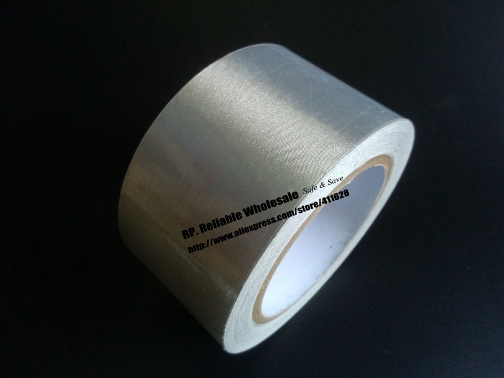1x 70mm* 20 meters Silver Single Sided  Adhesive Conductive Fabric Cloth Tape Components EMI Shielding Radiation-Resistant 1pcs 45mm x 5mm single sided self adhesive shockproof sponge foam tape 3 meters