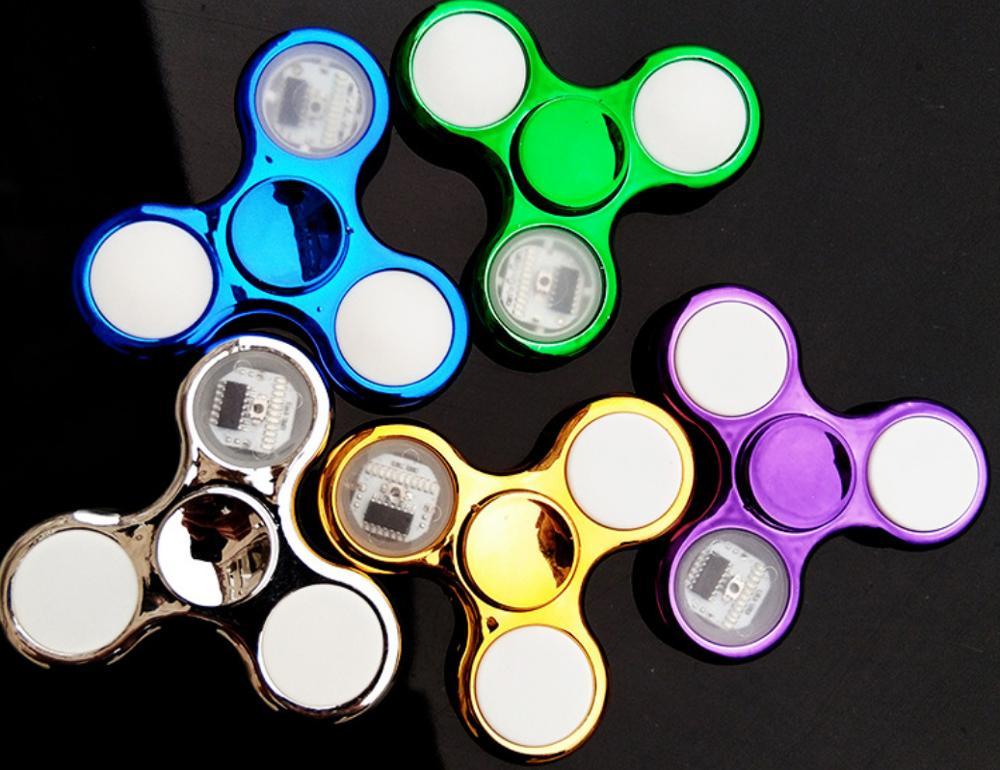 Luminous LED light Fidget Spinner Hand Top Spinners Glow in Dark Light EDC Figet Spiner Finger Stress Relief Toys 6