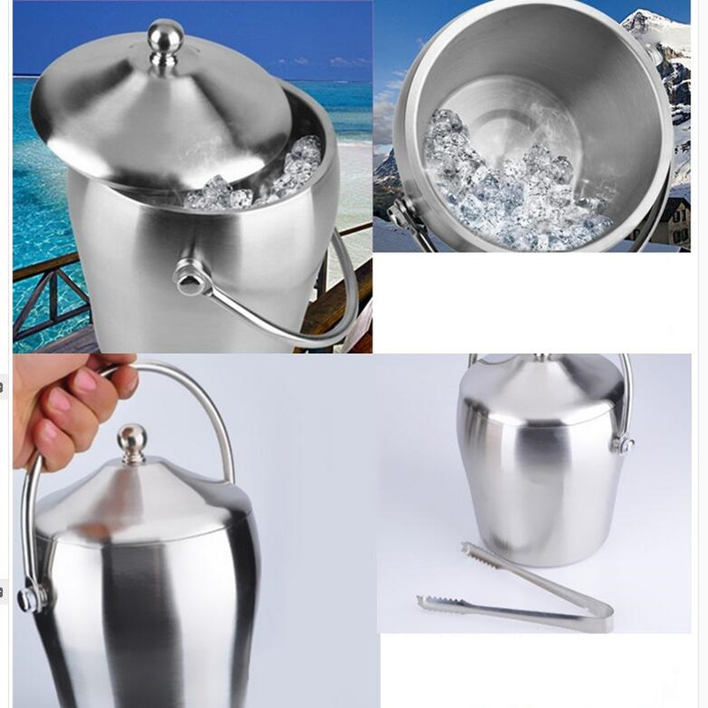 Stainless Steel Ice Bucket With Cover Champagne Cooling Ice Bucket 1L/2L Food Grade Ice Bucket Food Processor Tool High Quality