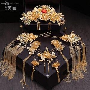 Image 2 - Nieuwe Chinese Bruid Hoofdtooi Klassieke Phoenix Haar Kam Crown Stap Rocking Pak Bruiloft Haar Accessoires Groothandel