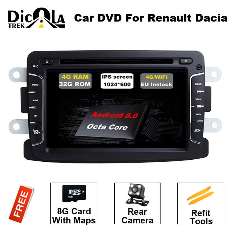 Android 8.0 RAM 4G Car DVD Stereo Player GPS for Renault Duster Dacia Sandero Logan Dokker Auto Radio RDS GPS Glonass Navigation android 7 1 1 car dvd player gps glonass navigation for renault dacia duster sandero lodgy dokker multimedia video radio stereo