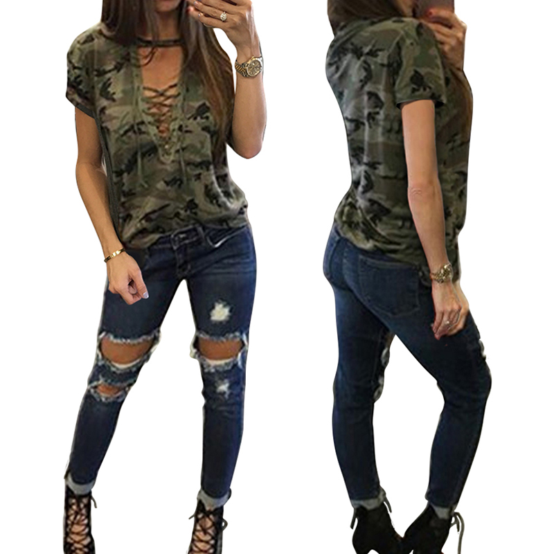 Fashion Sexy Tops Women Short Sleeve T-Shirt Camo Tee Casual Camouflage Print Tee Tops Femme Bandage V-Neck Bandage Tshirt 2017